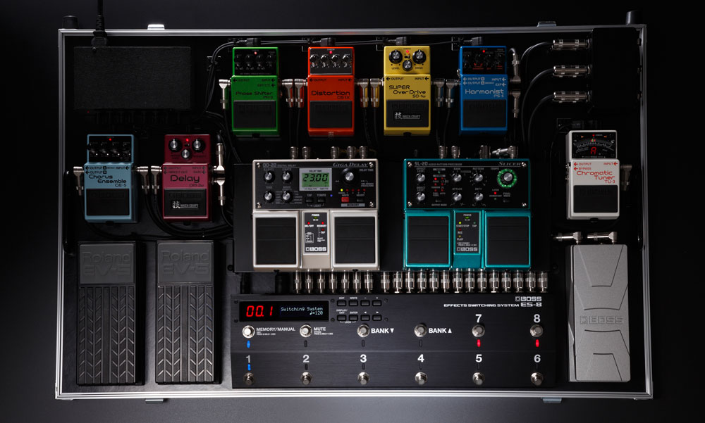 BOSS ES-8 Effects Switching System on a Pedalboard