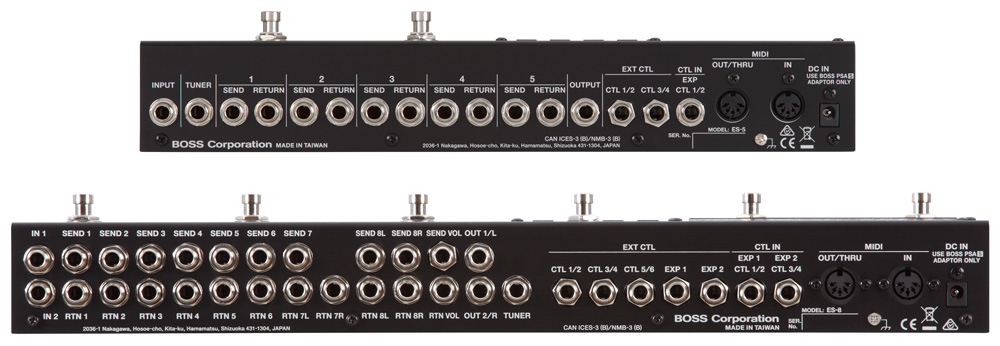 ES-8 and ES-5 Effects Switching Systems rear panels.