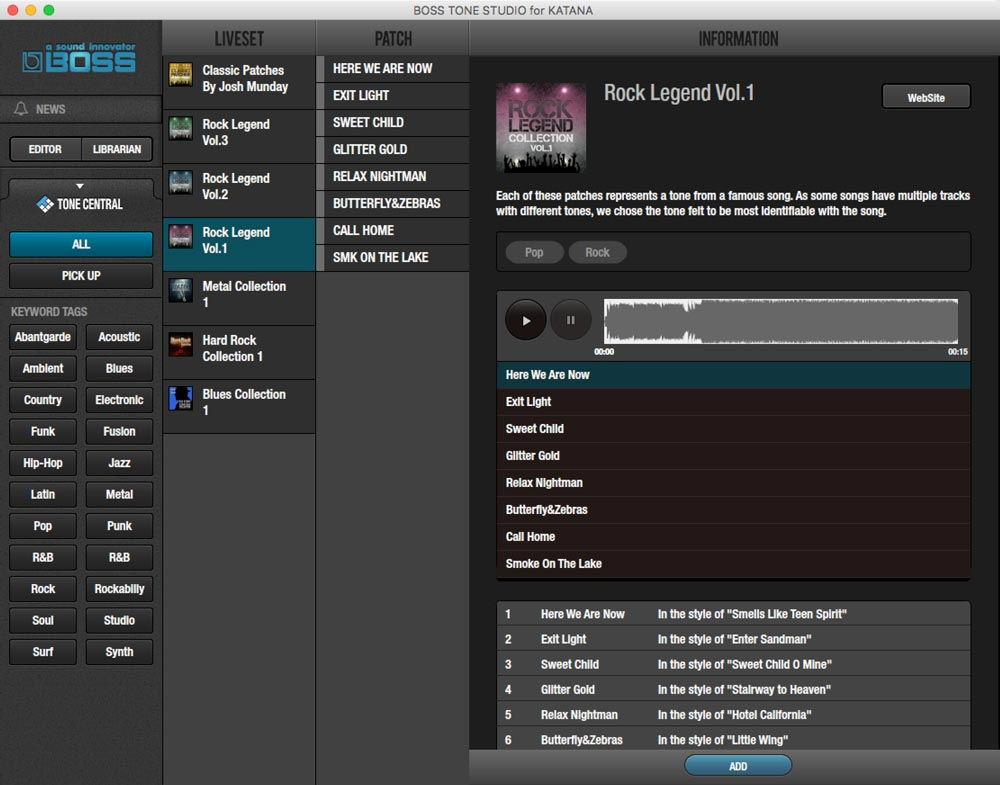 BOSS Tone Studio gives you direct access to Katana Live Set collections at BOSS Tone Central.