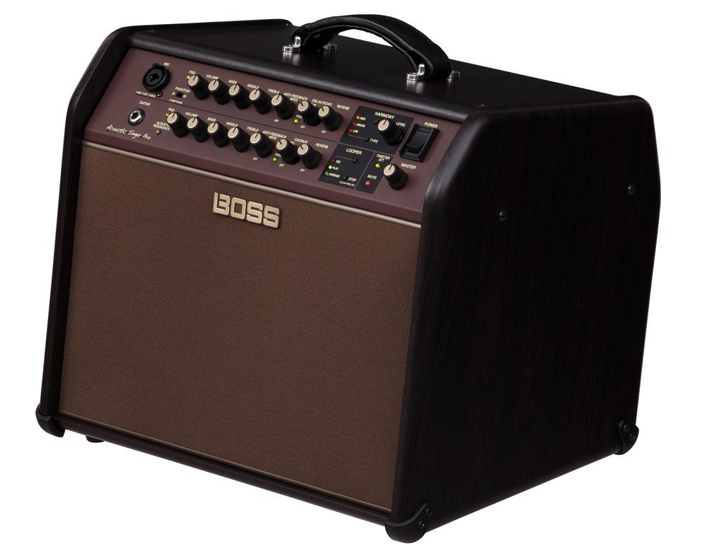 The Acoustic Singer amps feature a tilt-back cabinet design for enhanced projection.